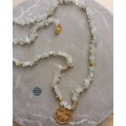 κολιέ με ημιπολύτιμες πέτρες και κωνσταντινάτο (κωδ:0215)