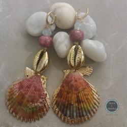 Σκουλαρίκια με πολύχρωμα κοχύλια (κωδ:0234)