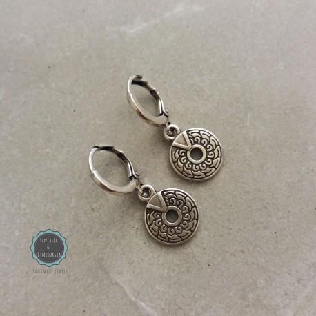 Σκουλαρίκια κρικάκια με έθνικ δισκάκια (κωδ:0235)