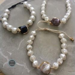 βραχιόλι με πέρλες και μαργαριτάρι (κωδ:0178)