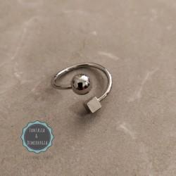 δαχτυλίδι με κύβο και μπίλια (κωδ:025)
