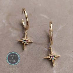 3/4 hoop zircon earrings (κωδ:0266)