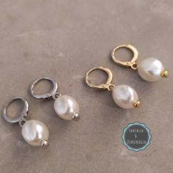 σκουλαρίκια κρικάκια με πέρλες (κωδ:0284)