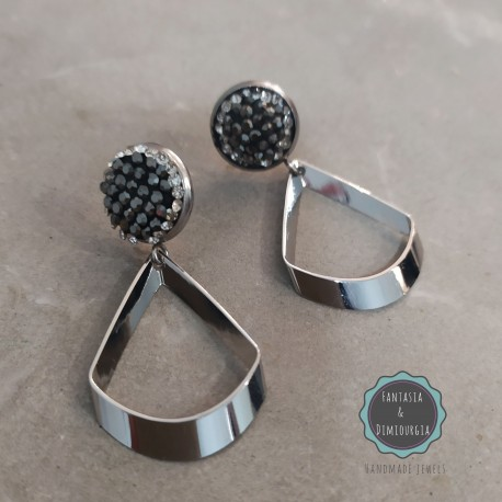 σκουλαρίκια με μεταλλικά στοιχεία και στρας (κωδ:0286)