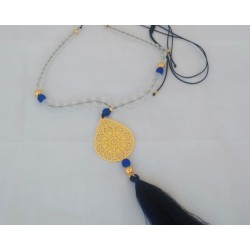 κολιέ με χάντρες μεταλλική σταγόνα και φούντα (κωδ:0081)